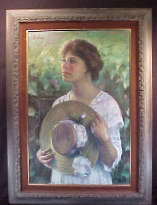 Evelyn Embry Original Pastel Painting Woman With Hat
