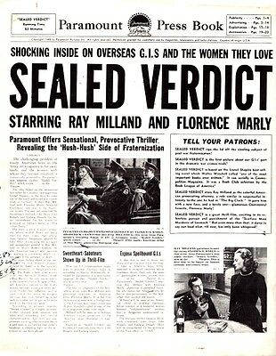 SEALED VERDICT pressbook, Ray Milland, Florence Marly, Broderick Crawford