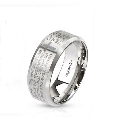 Personalized Engraved Beveled Cross & Lords Prayer Mens or Womens Band -