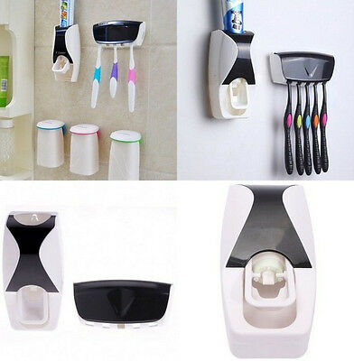 New Automatic Toothpaste Dispenser + 5 Toothbrush Holder Set Wall Mount Stand