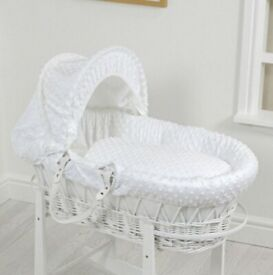 White wicker Moses basket with rocking stand in excellent condition