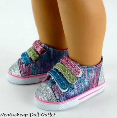 "Rainbow Glitter Sparkle Tennis Shoes Sneakers Fits 18"" American Girl Doll"