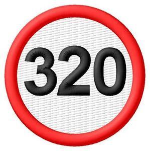 320 Speed Limit Límite de velocidad Parche bordado Thermo-Adhesivo iron-on patch - <span itemprop=availableAtOrFrom>Poznan, Polska</span> - Zwroty są przyjmowane - Poznan, Polska