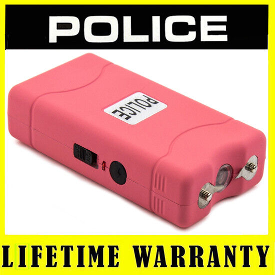 POLICE Stun Gun 800 Pink Mini 30 BV LED Flashlight Rechargeable + Taser Case