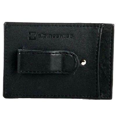 Black Money Clip - Money Clip Alpine Swiss Men's Slim Black Leather Wallet Card Holder