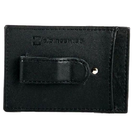 Money Clip Alpine Swiss Men's Slim Black Leather Wallet Card
