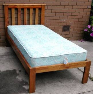 solid timber single bed frame with mattress