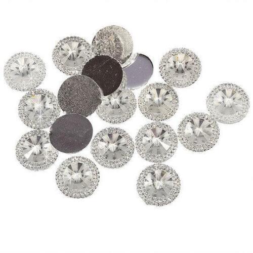 CraftbuddyUS 30pc 20mm Clear FlatBack Pointed Diamond Round Diamante Resin Gem