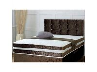 Luxury Chocolate Crushed Velvet King Size Bed and Mattress (Free Delivery)