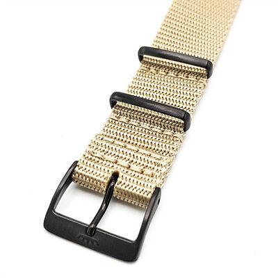 FORTIS Textilarmband Sand, Beschlag PVD schwarz, für alle Modelle, Neuware, Top