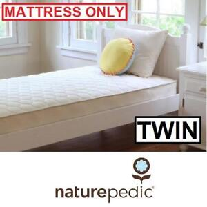 NEW NATUREPEDIC TWIN MATTRESS 142631081 ORGANIC QUILTED DELUXE 1 SIDED