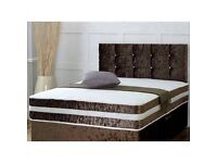 Luxury Chocolate Crushed Velvet Double Bed and Mattress (Free Delivery)