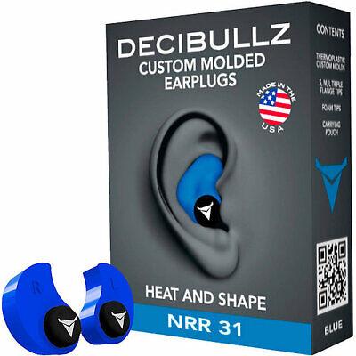 Decibullz Custom Molded Earplugs - Blue Brand New