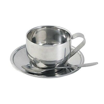 Stainless Steel Espresso Coffee/Tea/Milk Mug with Saucer/Dish and Spoon 3 pieces