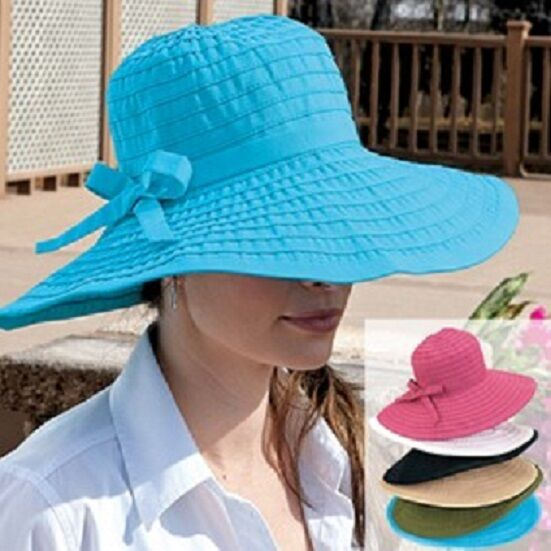Ribbon Large Brim Hat,One Size Sun Protection Comfy San Diego Womens  5 COLORS Clothing, Shoes & Accessories