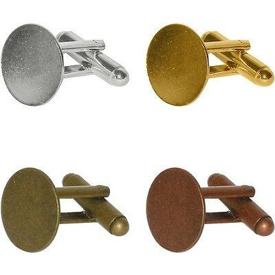48 CUFFLINKS Blank 15mm Pad ~ 4 COLORS x 12 each Gold Rhodium + 2 Antique Finish