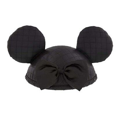 Disney Parks Mickey & Minnie Ears Ear Hat - Quilted Faux Leather, Black - Mickey Ears Hats