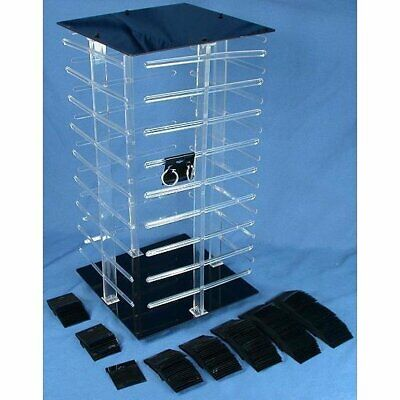 """4 Sided Revolving Rotating Jewelry Display Stand with 100 2"""" Black Earring Cards"""