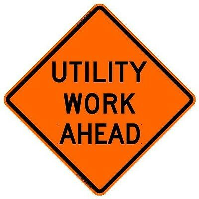 Utility Work Ahead 36 Roll-up Sign With Ribs..fluorescent Vinyl