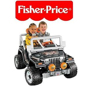 USED* FISHER PRICE JEEP WRANGLER RIDE ON - POWER WHEELS - TOUGH TALKING JEEP - 12V BATTERY - BLACK 102933619