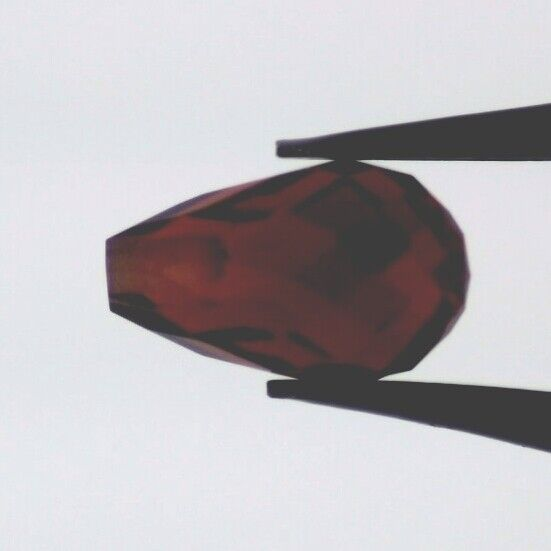 RED GARNET 10 x 6 MM DROP CUT BRIOLETTE TOP DRILLED ALL NATURAL F-542