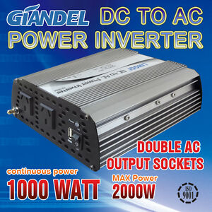 Large Shell Power Inverter 1000W /2000W 12V- 240V  With Car Plug Cable 1A USB