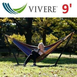 NEW* VIVERE DOUBLE HAMMOCK W/ STAND UHSDO9-20 245960839 CARRY BAG TROPICAL 9