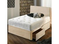 Luxury Stone Suede Double Bed and Mattress