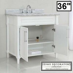 "NEW HDC ABERDEEN 36"" VANITY COMBO - 117310687 - HOME DECORATORS COLLECTION WHITE CABINET CARRARA MARBLE TOP BATH BATH..."