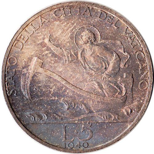 1940 Vatican 5 Lire Silver Coin St. Peter KM#28 UNC Mintage 100K