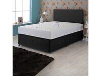 Luxury Black Cotton Double Divan Bed with Mattress (Free Delivery)