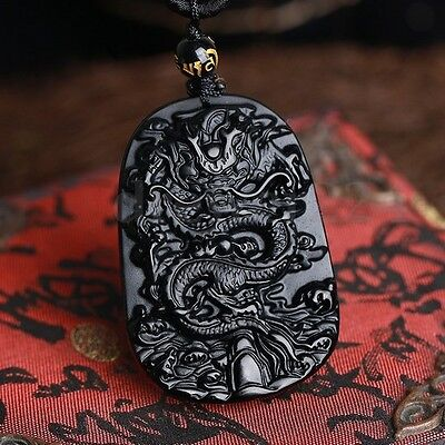 Chinese Luck Charm (Natural & Obsidian Hand Carved Chinese Dragon Good Luck Charm Pendant)