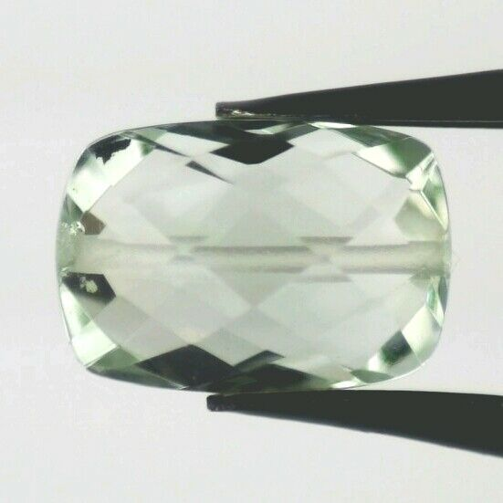 GREEN AMETHYST 11 x 7.5 MM CUSHION BRIOLETTE CUT BEAD DRILLED 2 PC SET F-1661
