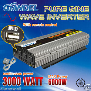 Pure Sine Wave Inverter 3000W/6000W12V-240V With Remote Control And 2.1A USB