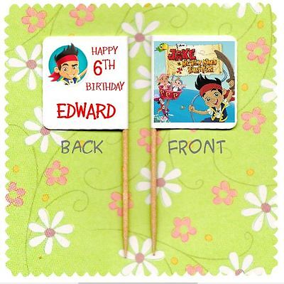 20 PERSONALISED JAKE AND THE NEVERLAND PIRATES CUP CAKE FLAG Topper