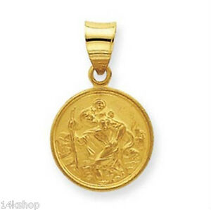 18K-Solid-Gold-Small-Saint-St-Christopher-medal-pendant-charm-1-6g-New