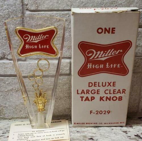 VINTAGE Miller High Life Deluxe Large Clear Beer Tap Knob F-2029 NIB
