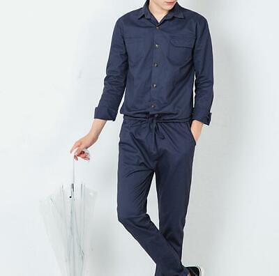 Mens Casual Cotton Overalls Jumpsuit Long Sleeve Clubwear Ropmer Siamese Trouser Cotton Long Sleeve Overalls