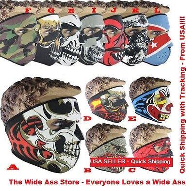 New Full Face Mask Skull Reversible Neoprene Halloween Snow Ski Motorcycle  (Halloween Skull Face)