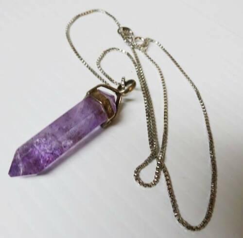Vintage Sterling Silver Necklace With Amethyst Crystal Quartz Prism Pendant