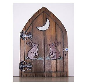 Handcrafted Wooden Fairy Door - Moon Gazing Hare Faerie  Pagan Wiccan Gifts Fae