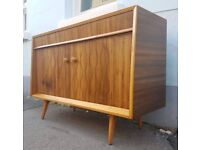 Rare 1960s Routed Walnut Sideboard by Everest Furniture. Vintage/Retro/Mid Century