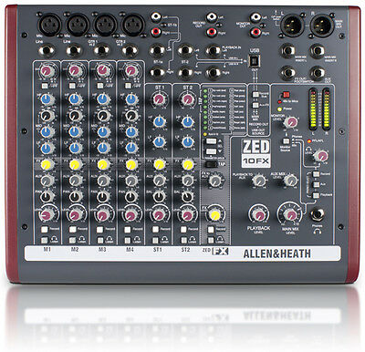 Allen & Heath ZED-10FX 10-Channel USB Mixer with Effects