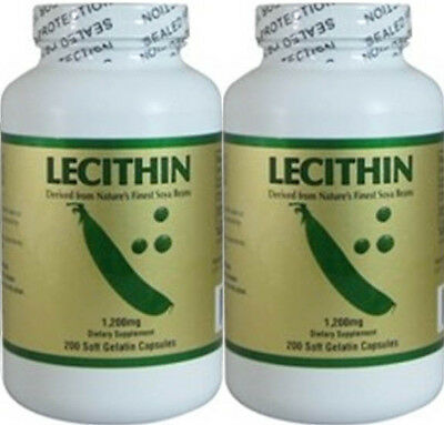 2 bottles Lecithin,prevent  cholesterol anti-oxidant,1200mg, 200caps/bottle x 2
