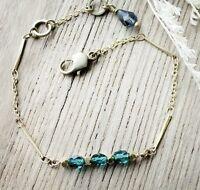 brand new sea green antique brass bead bracelet