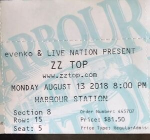 ZZ Top ticket for sale