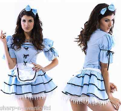 Ladies Sexy 3 Piece Alice in Wonderland Book Day Week Fancy Dress Costume Outfit