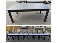 IKEA Bjursta Black Extending Table 175-260cm & 8 Black Borje Chairs FREE DELIVERY 752