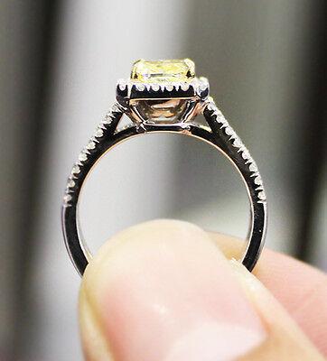 2.90 Ct. Cushion Cut Split Shank Halo Pave Diamond Engagement Ring GIA Certified 2
