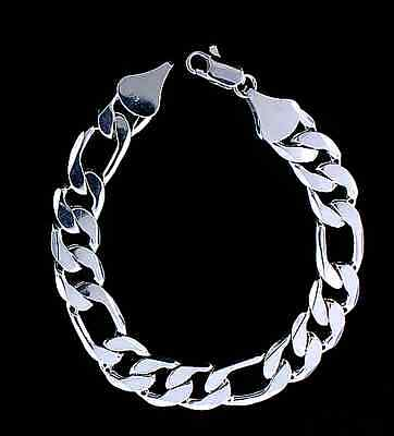 MENS 12MM 14K WHITE GOLD PLATED SILVER FIGARO LINK CHAIN BRACELET *NEW* ()